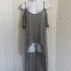 Torrid high low cold shoulder striped top tunic